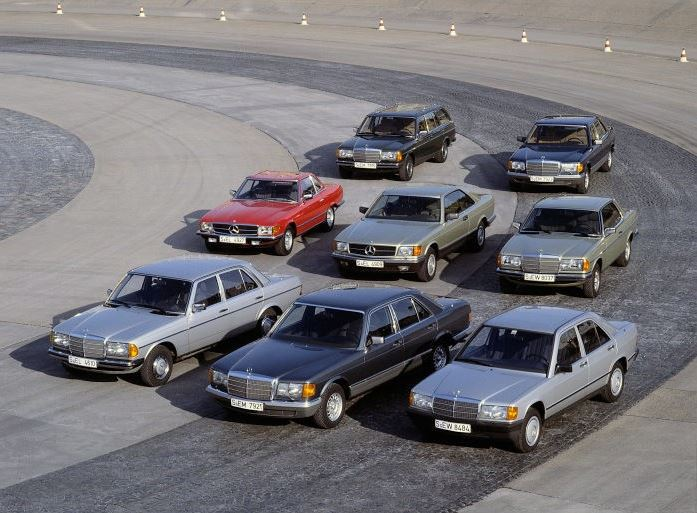 A photo of the Mercedes-Benz passenger cars from 1983.